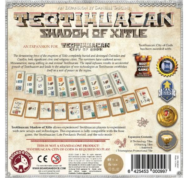 Teotihuacan Shadow of Xitle Backside | BoardgameShop