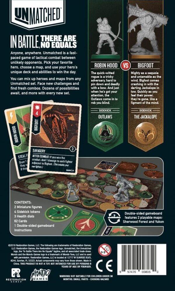 Unmatched Robin Hood vs Bigfoot Backside   BoardgameShop